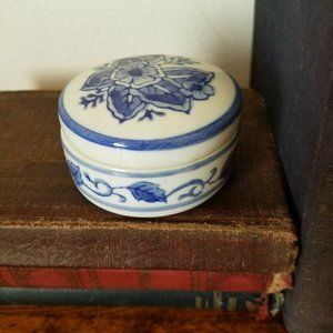 Blue Ceramic Lidded Round Trinket Dish Jewelry Box